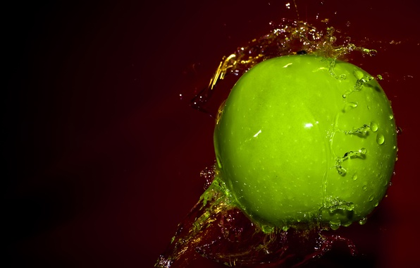 Picture water, drops, squirt, green, Apple