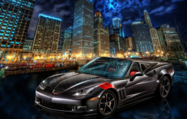 Picture the city, Corvette, Chevrolet, night city, skyscrapers, Chevrolet Corvette