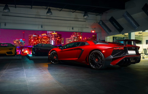 Picture Lamborghini, Red, Aventador, Supercar, Prestige, Rear, LP 750-4, Superveloce, Imports