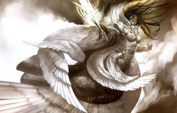 Picture look, girl, light, flight, clouds, wings, sword, armor, Angel, swing