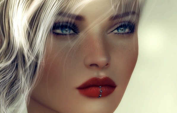 Picture eyes, girl, face, background, hair, lipstick