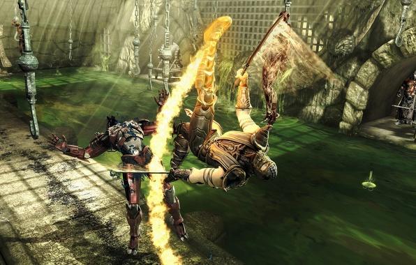 Picture fire, oil, blow, Scorpio, swords, 2011, fighters, mortal, kombat, scorpion, sector, sector