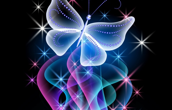 Picture butterfly, abstract, design, blue, pink, butterfly, glow, neon, sparkle, neon
