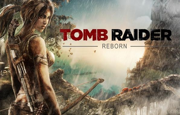 Picture girl, weapons, rain, bow, Tomb Raider, shotgun
