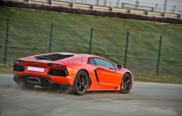 Picture road, orange, speed, the fence, lamborghini, orange, back, aventador, lp700-4, Lamborghini, aventador