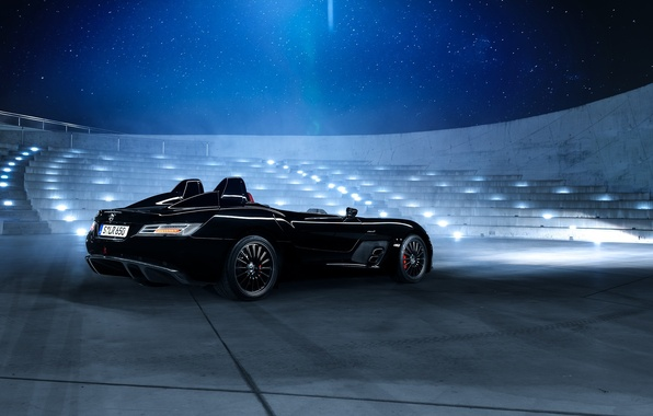 Picture Mercedes-Benz, SLR, Car, Black, Museum, Nigth, Stirling Moss