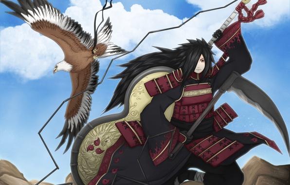 Picture eagle, naruto, art, shinobi, Uchiha Powers, gunby