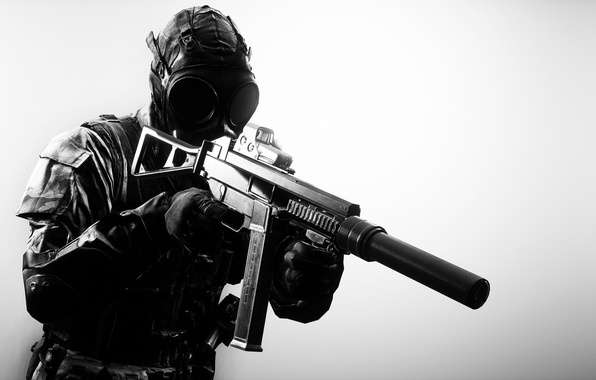 Picture weapons, background, soldiers, gas mask, equipment, Battlefield 4