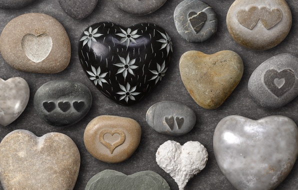 Picture summer, color, love, background, figure, positive, hearts, form, stones, sea