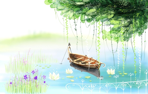 Picture flowers, lake, tree, boat, figure, the fence, water lilies