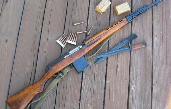 Picture Board, cartridges, self-loading rifle Tokarev, SVT-40, TNT, bayonet