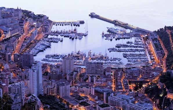 Picture city, home, yachts, port, Monaco, night, Monaco, Monte Carlo, Monte Carlo, evening.