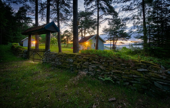 Picture grass, trees, lake, stones, the fence, Norway, lights, houses, wicket, Ostfold
