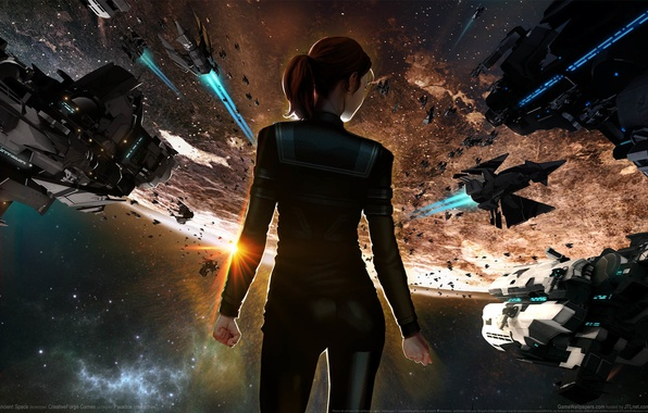 Picture girl, space, fiction, planet, space, girl, spaceships, game wallpapers, Ancient Space