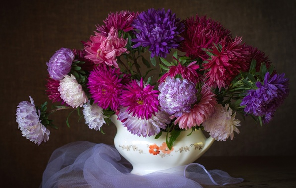Picture bouquet, colorful, asters