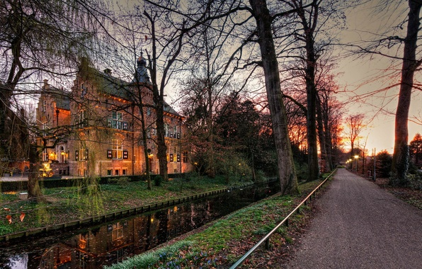 Picture road, autumn, trees, lights, castle, the evening, channel, Netherlands, twilight, Crabbehof