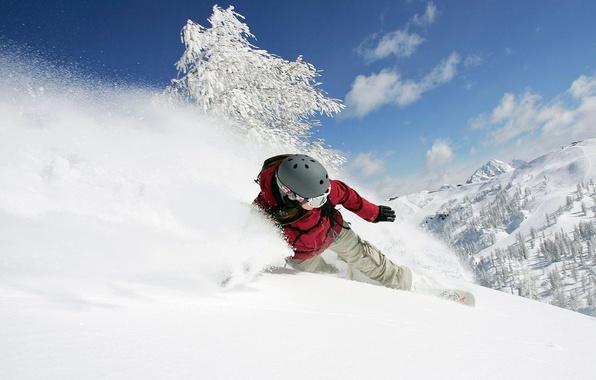 Picture winter, girl, snow, mountains, snowboard, the descent, helmet, adrenaline