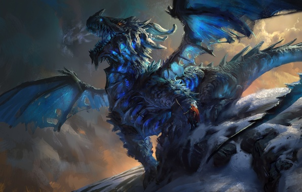 Wallpaper Snow Dragon People Art Mike Azevedo Ice