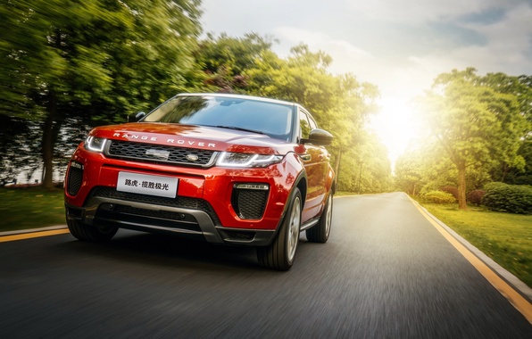 Picture road, the sun, light, Land Rover, Range Rover, car, Evoque, HSE Dynamic
