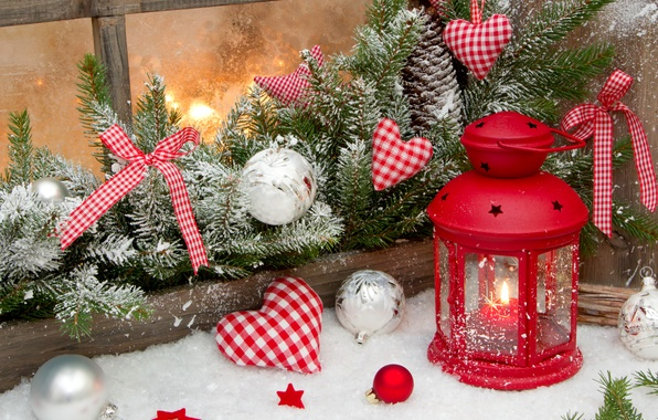 Picture winter, snow, holiday, heart, star, candles, Christmas, lantern, New year, star, Happy New Year, heart, …