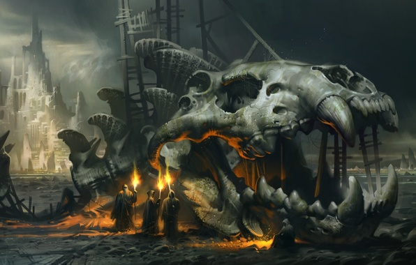 Picture fiction, fire, skull, skeleton, torch, monks, giant fish