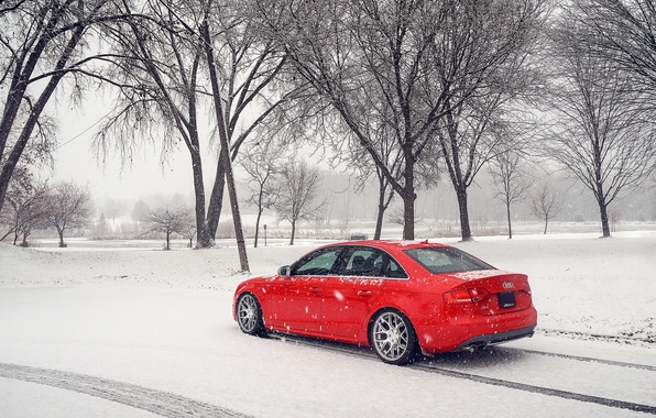 Picture winter, snow, Audi, Audi, red, red