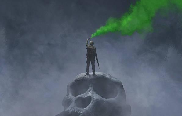 Picture green, fog, weapons, smoke, skull, fantasy, soldiers, poster, huge, Kong: Skull Island, King Kong: skull …