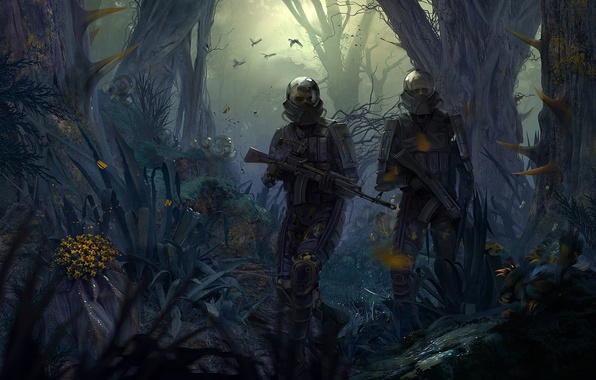 Picture Look, Light, Apocalypse, Weapons, Mask, Jungle, The situation, Equipment, Survivors, Areal, West Games