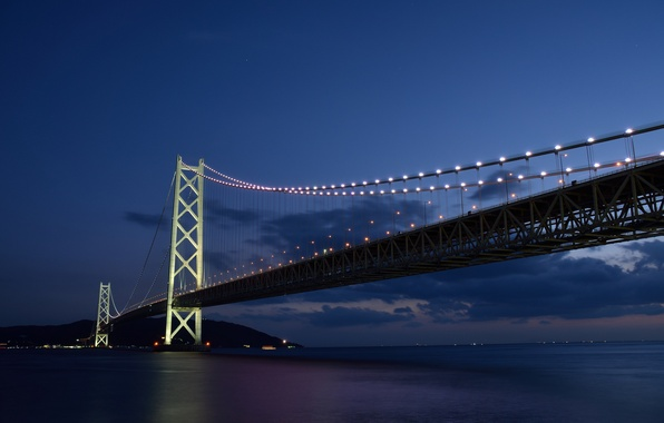 Picture sea, the sky, clouds, sunset, night, bridge, lights, Strait, Japan, backlight, blue