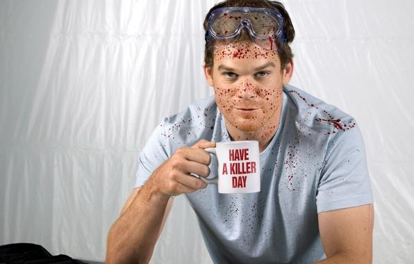 Picture squirt, blood, Cup, actor, maniac, Dexter, the series, killer, Dexter, season 6, Michael C. Hall, …