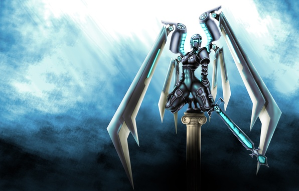 Picture weapons, background, robot, wings, sword, art, cyborg, fantatica