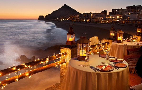 Photo Wallpaper Shore, The Evening, Restaurant, Beach, Dinner, Candlelight,  Dinner