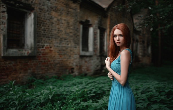 Picture grass, girl, blue, foliage, the building, portrait, dress, red, beautiful, Russian, beauty, abandoned, bokeh, grid, …