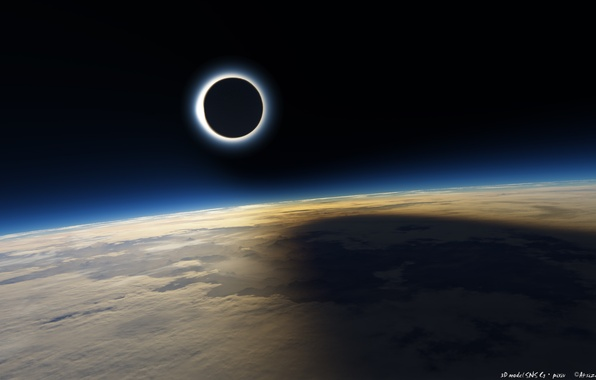 Picture The sun, The moon, Desert, Space, Earth, Shadow, Eclipse, Solar Eclipse, Eklips
