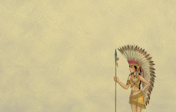 Picture girl, yellow, minimalism, feathers, spear, Indian