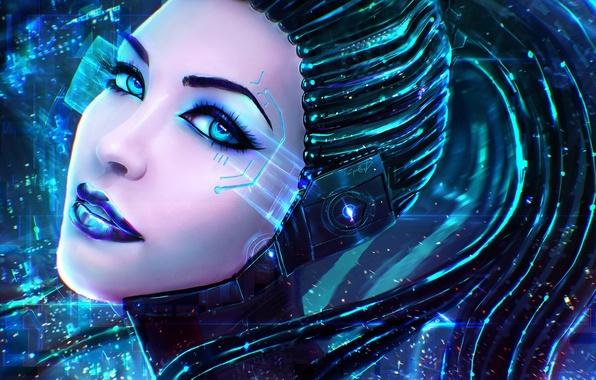 Picture eyes, look, girl, face, fiction, robot, art, lips, cyborg, cyberpunk