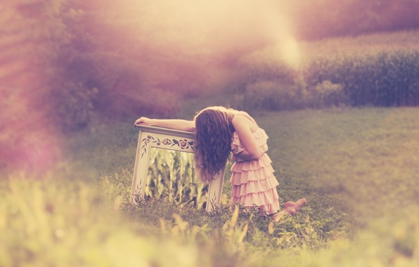 Picture greens, grass, girl, background, pink, Wallpaper, mood, dress, sitting, wallpapers