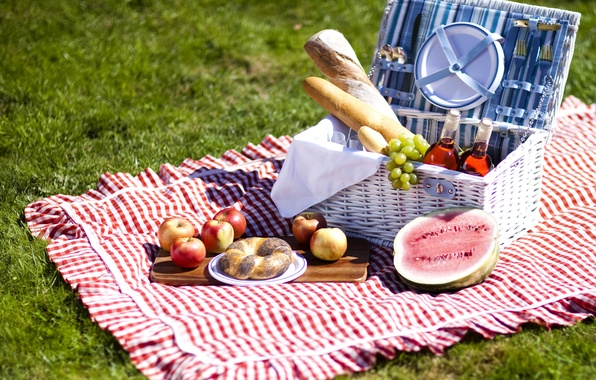 Picture wine, apples, food, watermelon, bread, grapes, fruit, picnic, loaves