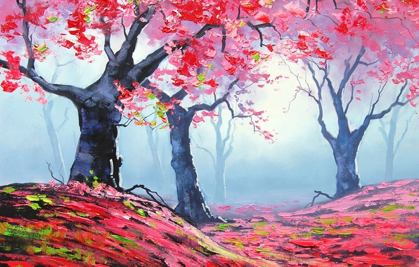 Picture autumn, leaves, trees, nature, art, red, artsaus