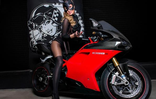 Picture model, mask, motorcycle, bike, Ducati, Bunny, Ducati 1098 S
