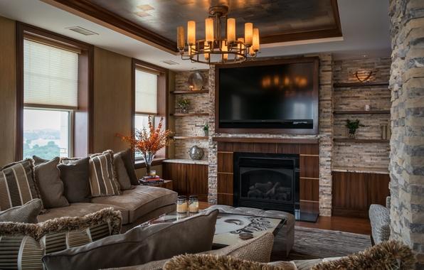 Picture design, sofa, chandelier, fireplace, living room, plasma