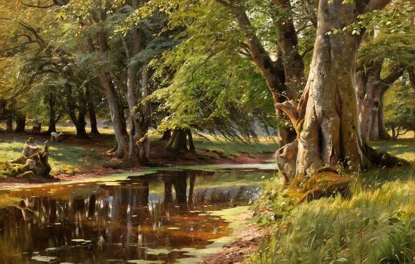 Picture forest, animals, summer, grass, trees, landscape, river, picture, deer, Bank, Peder Mork Monsted