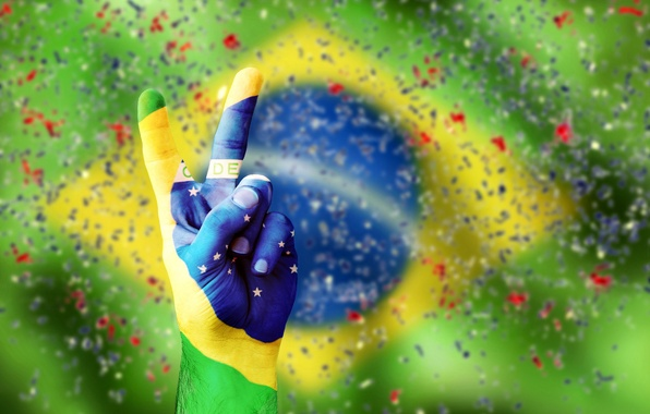 Picture hand, confetti, flag, brasil, vicrtory, flag of Brazil
