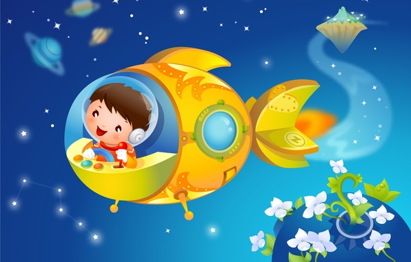 Picture flowers, smile, fantasy, planet, stars, child, baby Wallpaper, spaceship