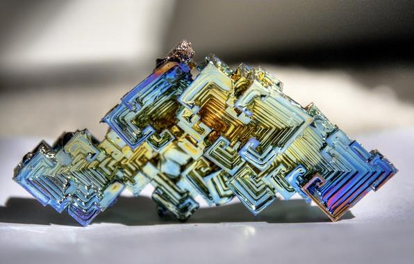 Photo wallpaper crystal, metal, bismuth