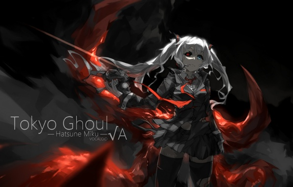 Picture girl, anime, art, microphone, vocaloid, hatsune miku, crossover, Tokyo ghoul, tokyo ghoul, miyisti c