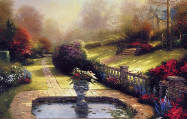 Picture summer, flowers, pond, picture, vase, house, painting, cottage, Thomas kinkade, Kincaid
