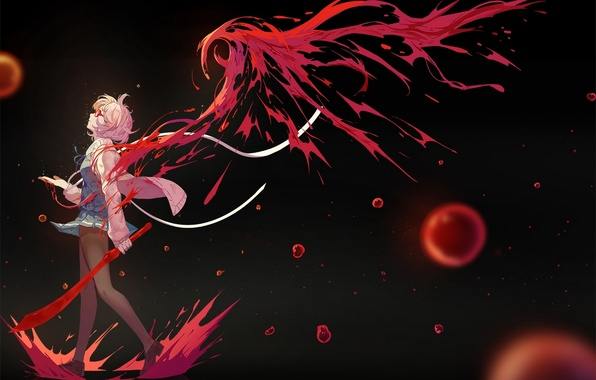 Picture girl, weapons, blood, wings, sword, anime, art, glasses, into deep shit, kyoukai no kanata, mirai …