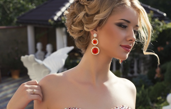 Picture look, girl, hand, earrings, makeup, dress, beautiful