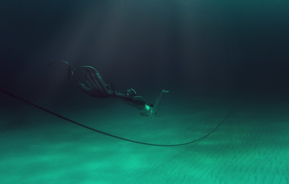 Picture sea, girl, mermaid, the bottom, breath, chain, costume, tail, extreme, under water, diving, photoshoot, swimming, …